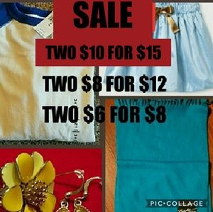 2 $10 for $15. 2 $8 for $12. 2 $6 for $8